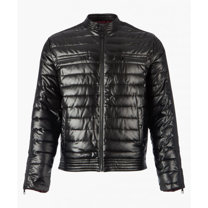 Image for Black shell zip-up quilted jacket