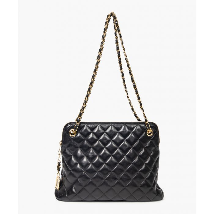 Image for Vintage Chanel Black quilted leather shoulder tote Grab Bag black