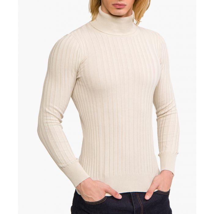 Image for Beige cotton blend high-neck jumper