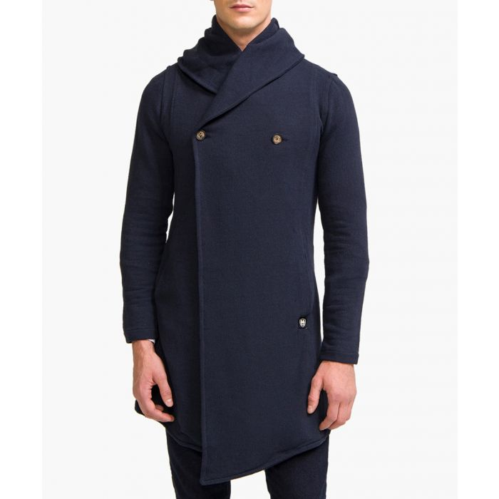 Image for Navy cotton blend asymmetric hooded cardigan