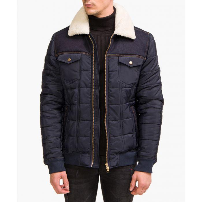 Image for Navy white collar utility jacket