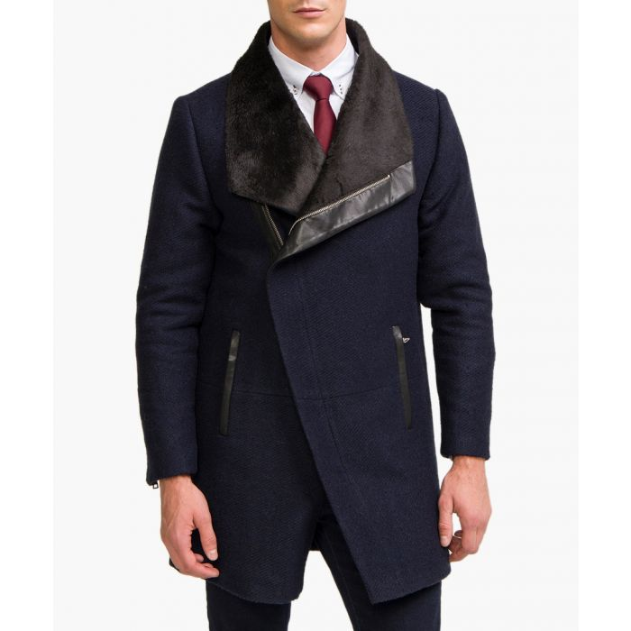 Image for Navy wool blend jacket