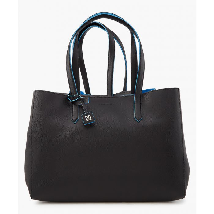 Image for Fara black and blue leather bag