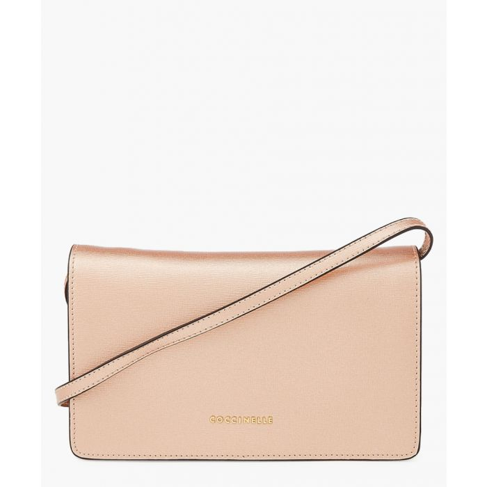 Image for Rose gold-tone leather clutch