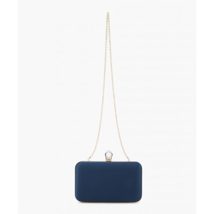 Image for Blue silk blend box clutch
