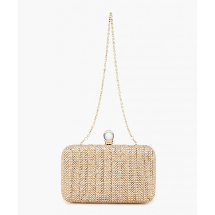 Image for Silver-tone box metal straw clutch