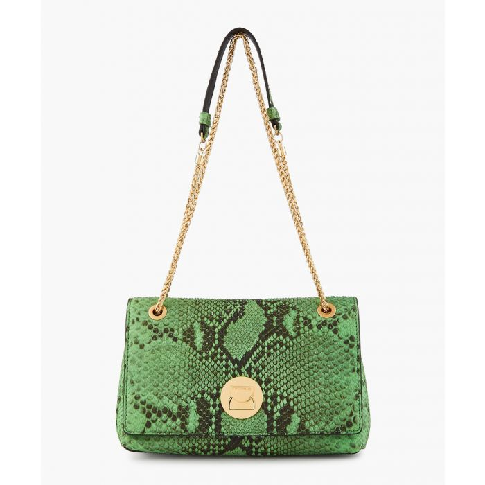 Image for Liya green snake-effect bag