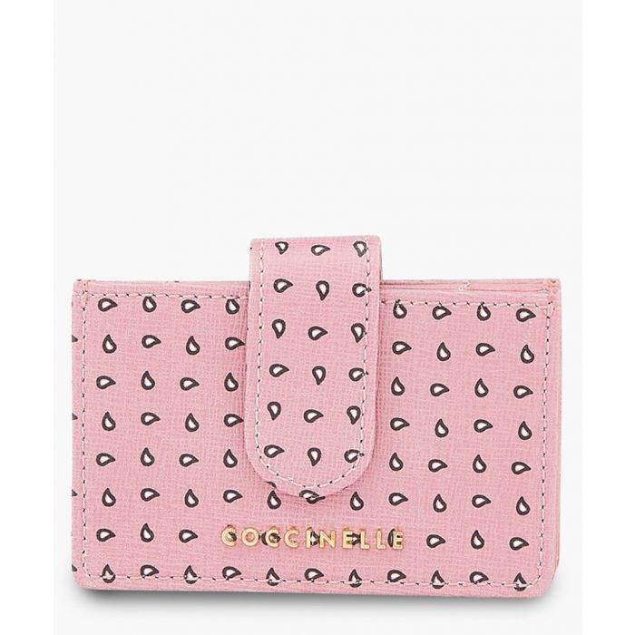 Image for Pink leather printed wallet
