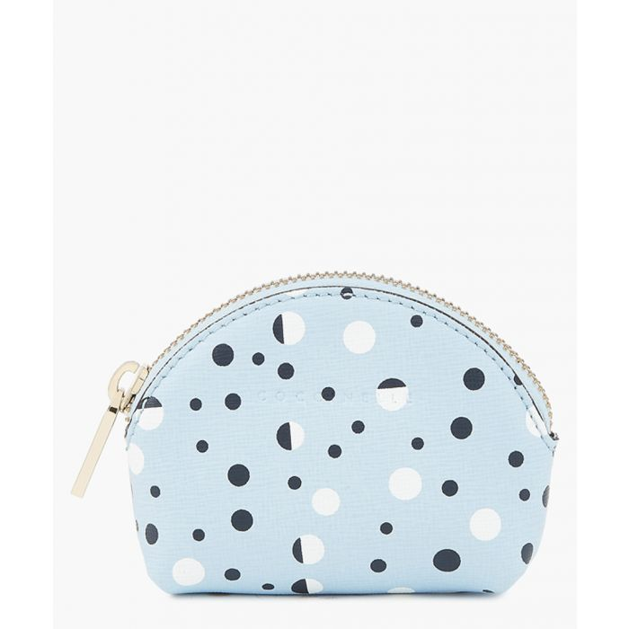 Image for Coccinelle Blue leather printed zip-up cosmetic bag Pouches Iris