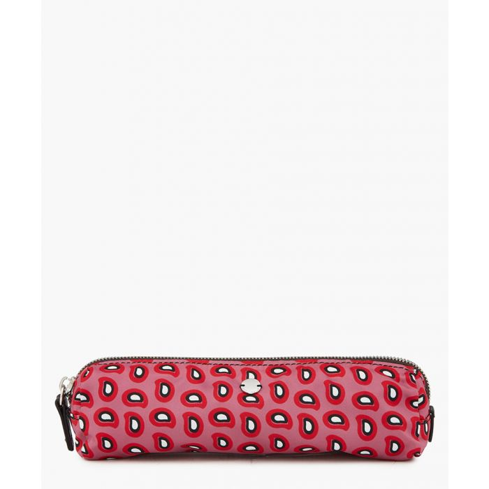 Image for Red leather trim printed bag