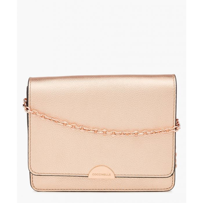 Image for Rose gold-tone leather chain crossbody