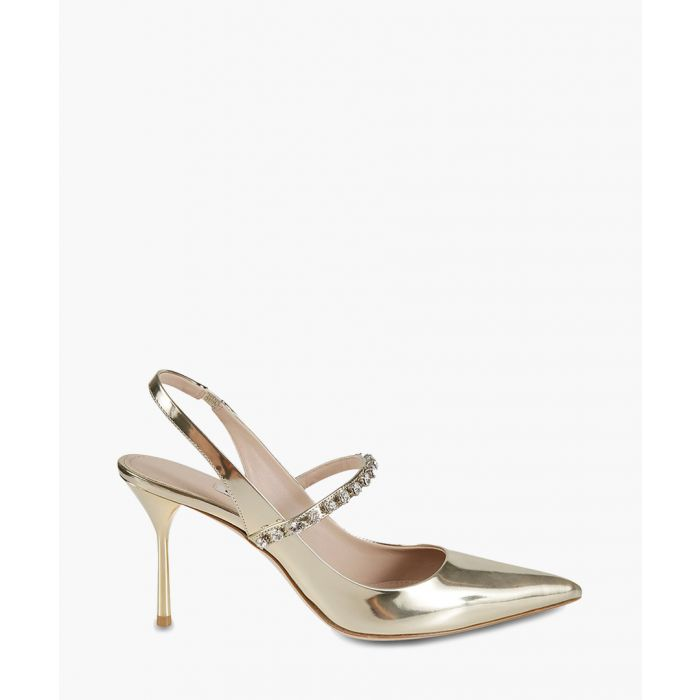 Image for Gold-tone leather slingback heels