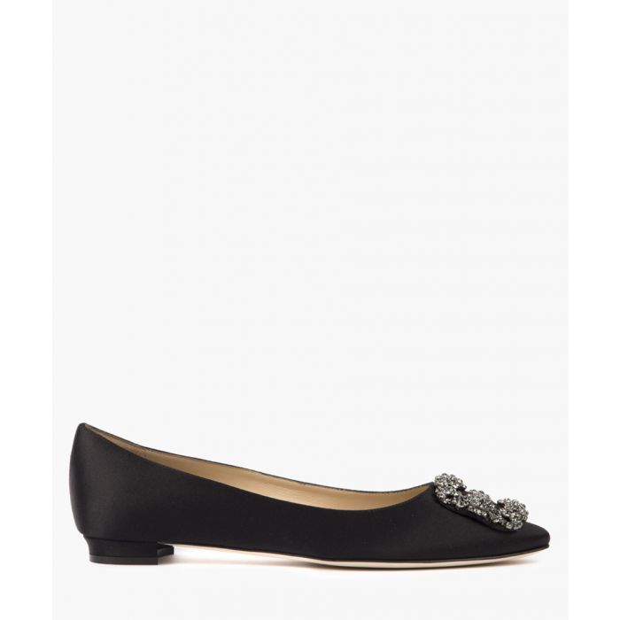 Image for Manolo Blahnik Black satin embellished ballet pumps