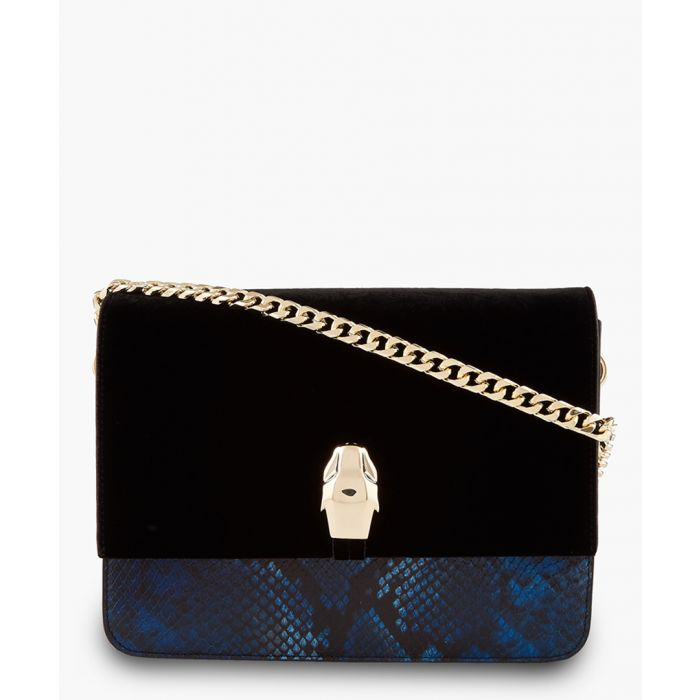 Image for Milano large black leather animal print contrast crossbody