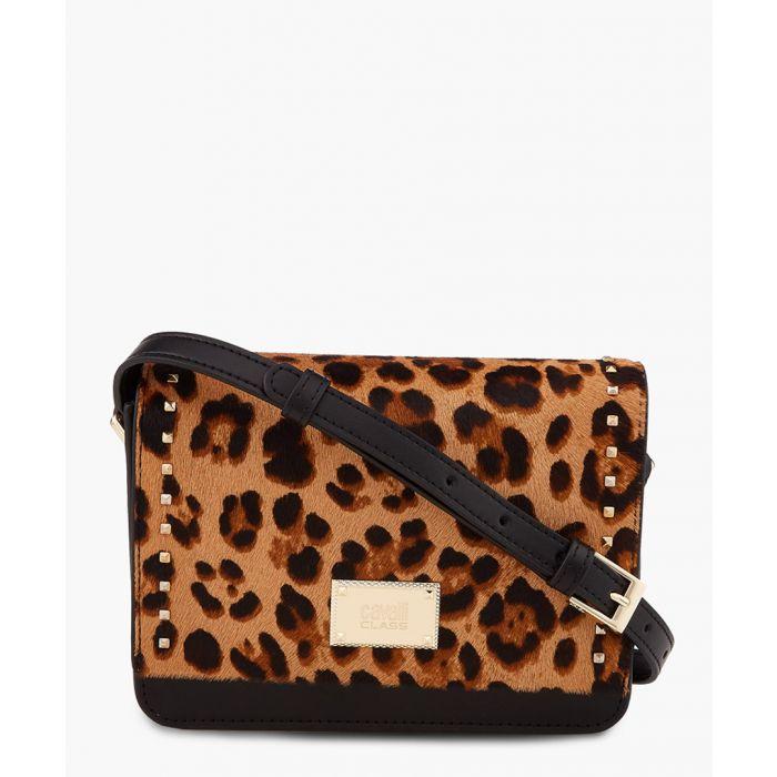 Image for Justine small black  leopard printed studded shoulder bag
