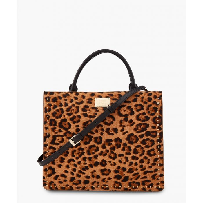 Image for Justine medium brown and black leopard printed shoulder bag