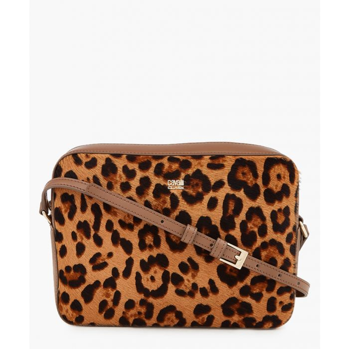 Image for Louise medium brown trim leopard printed cross body