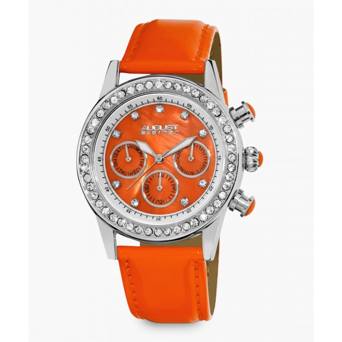 Image for Silver-tone, leather and crystal watch