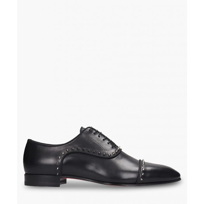 Image for Black leather studded oxfords