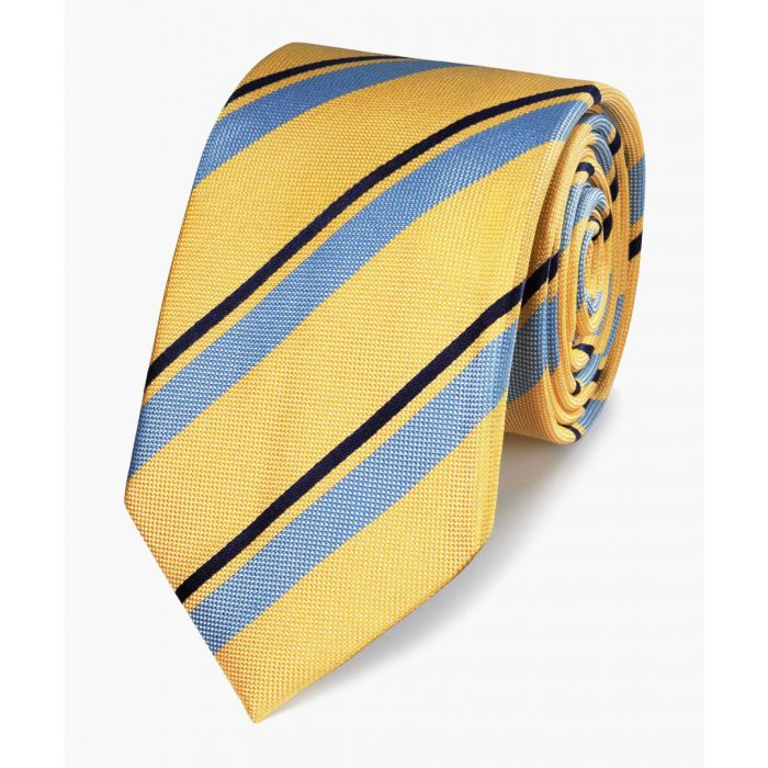 Image for Yellow and blue club stripe silk classic tie