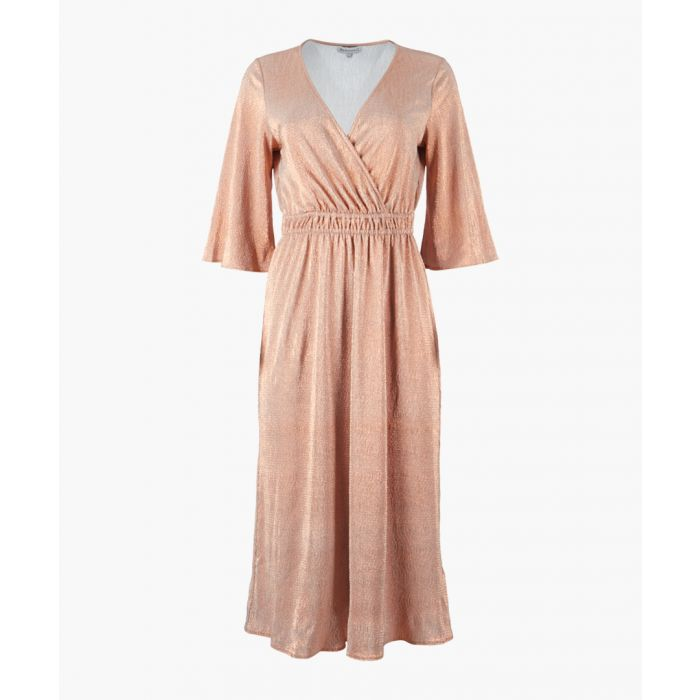 Image for Bronze-coloured plissé wrap dress