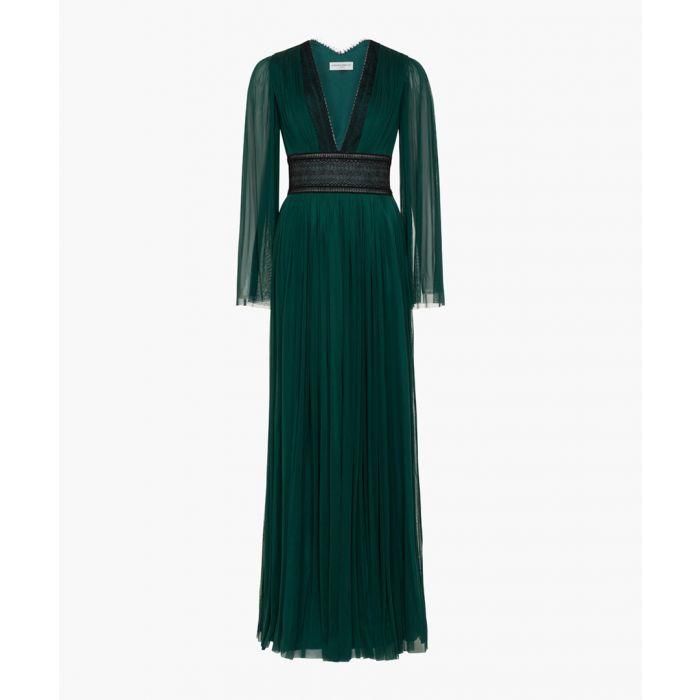 Image for Tourmaline green pure silk maxi dress