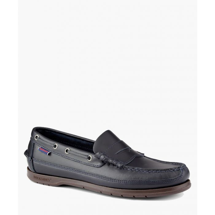 Image for Navy leather boat shoes