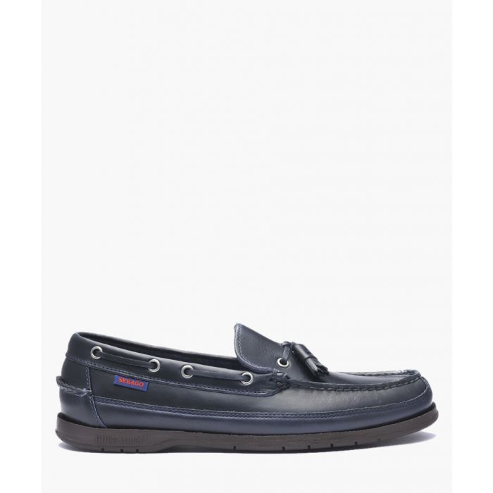 Image for Navy tassel leather boat shoes