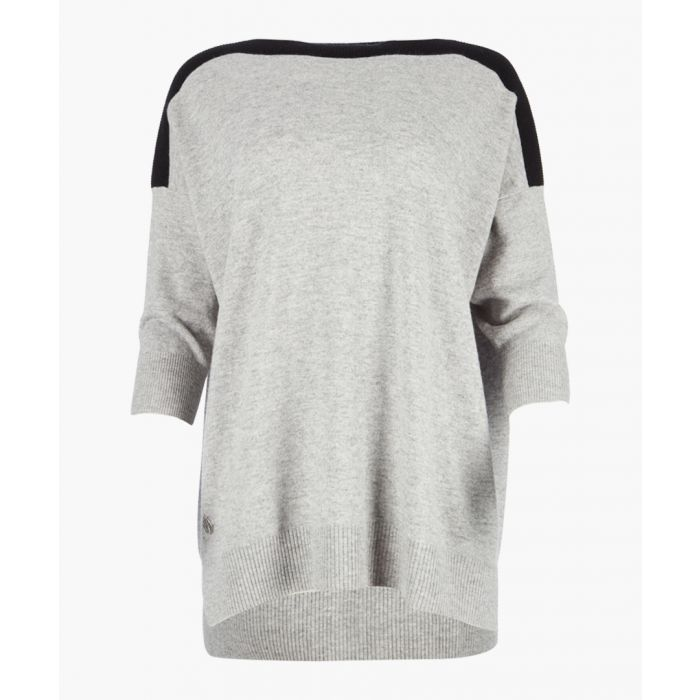 Image for Pebble grey cashmere and wool blend boyfriend jumper