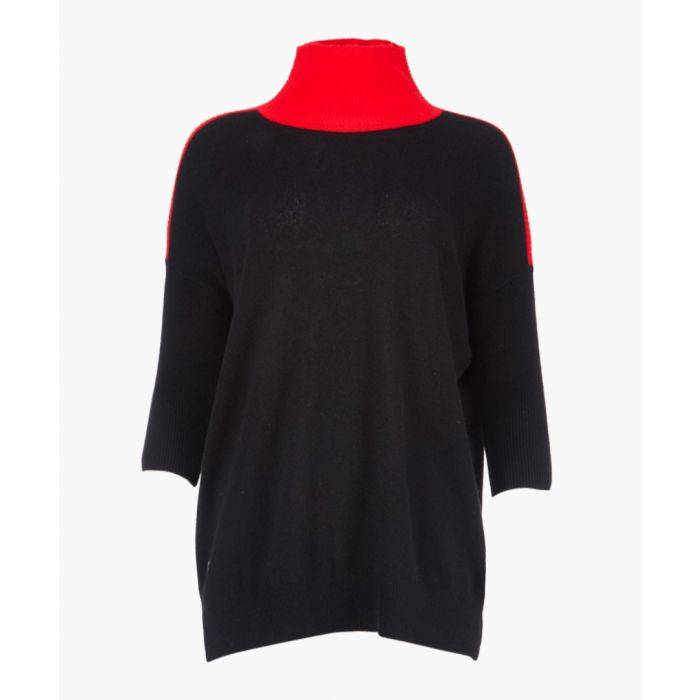 Image for Black and red cashmere and wool blend rollneck jumper
