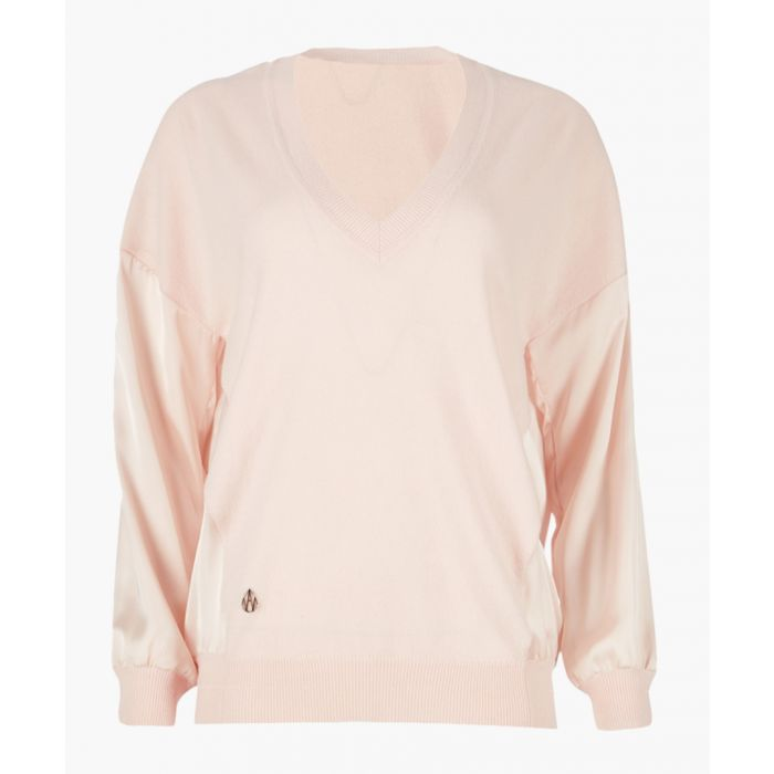 Image for Blush cashmere and wool blend V-neck contrast back jumper