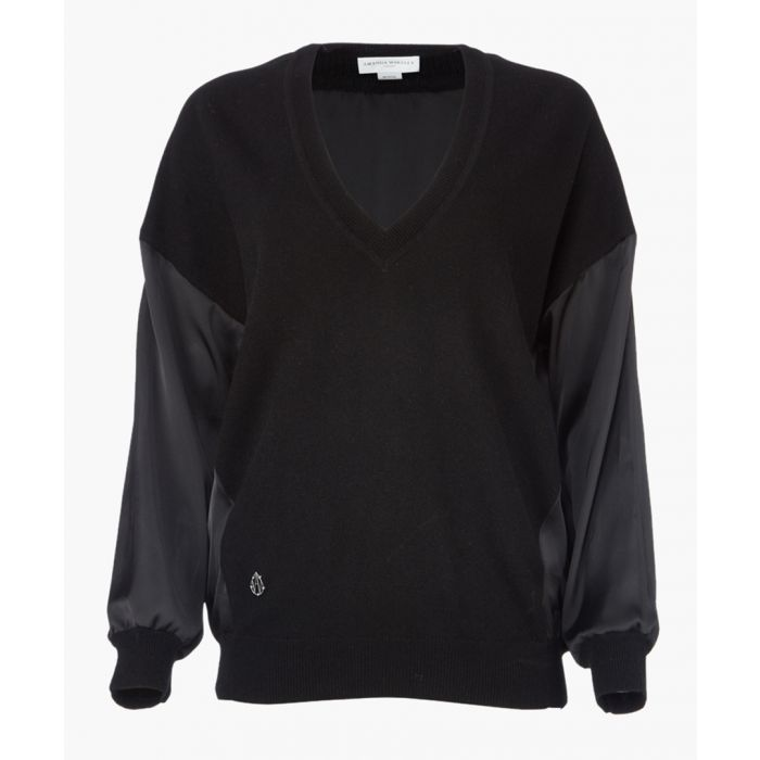 Image for Black Cashmere V-Neck Contrast Back And Sleeves Jumper