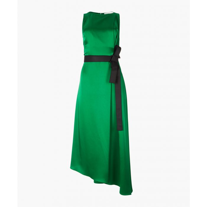 Image for Emerald satin sleeveless dress