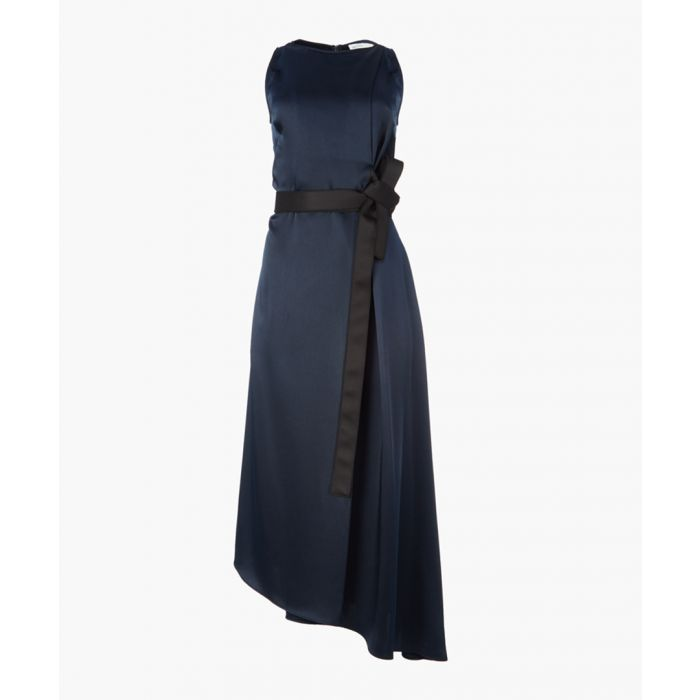 Image for Midnight satin sleeveless dress