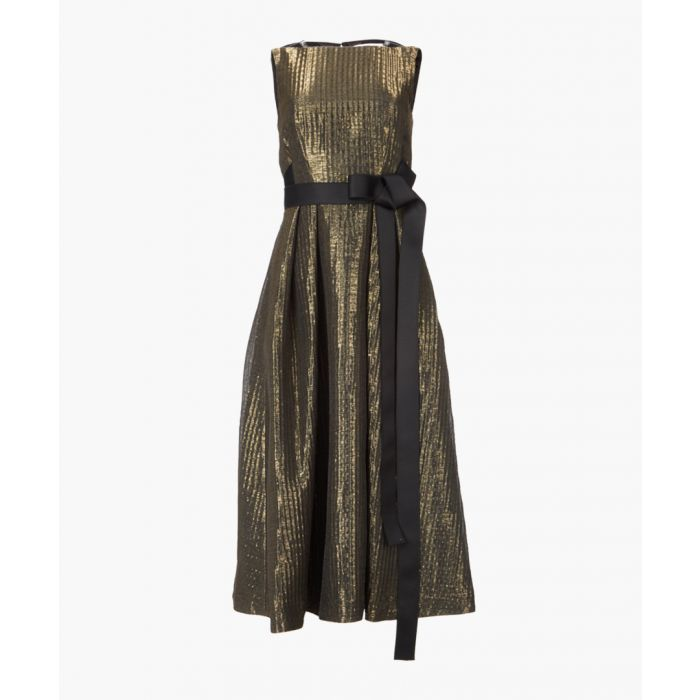 Image for Gold and black lace trimmed cocktail dress