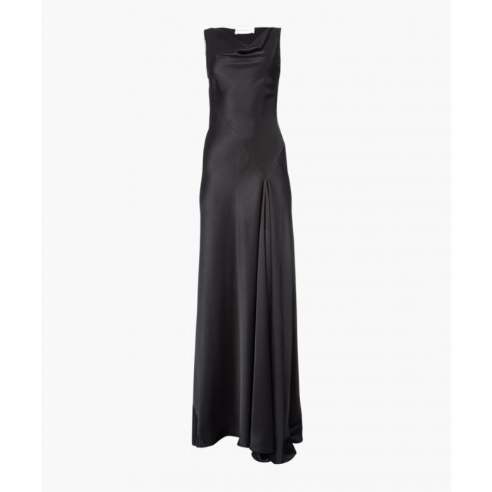 Image for Black satin bias-cut dress