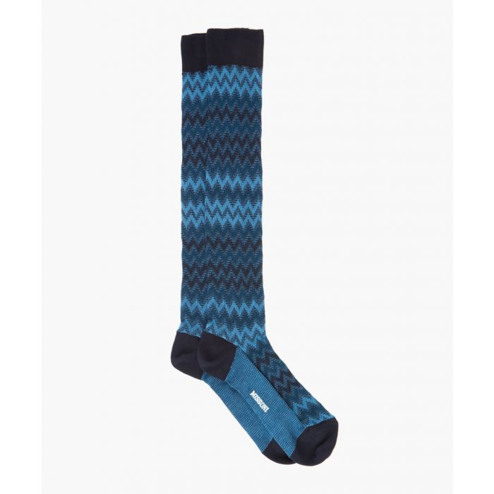 Image for Blue and black cotton patterned socks