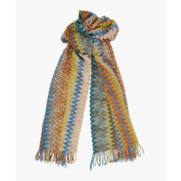 Image for Multi-coloured patterned scarf