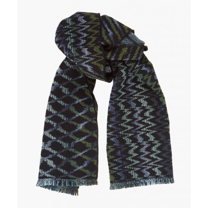 Image for Multi-coloured patterned wool-blend scarf