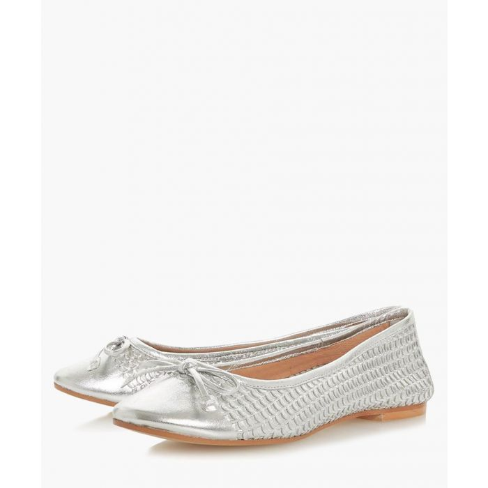 Image for Hennah silver-tone leather ballet pumps