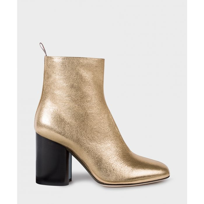 Image for Gold-tone leather block heeled boots