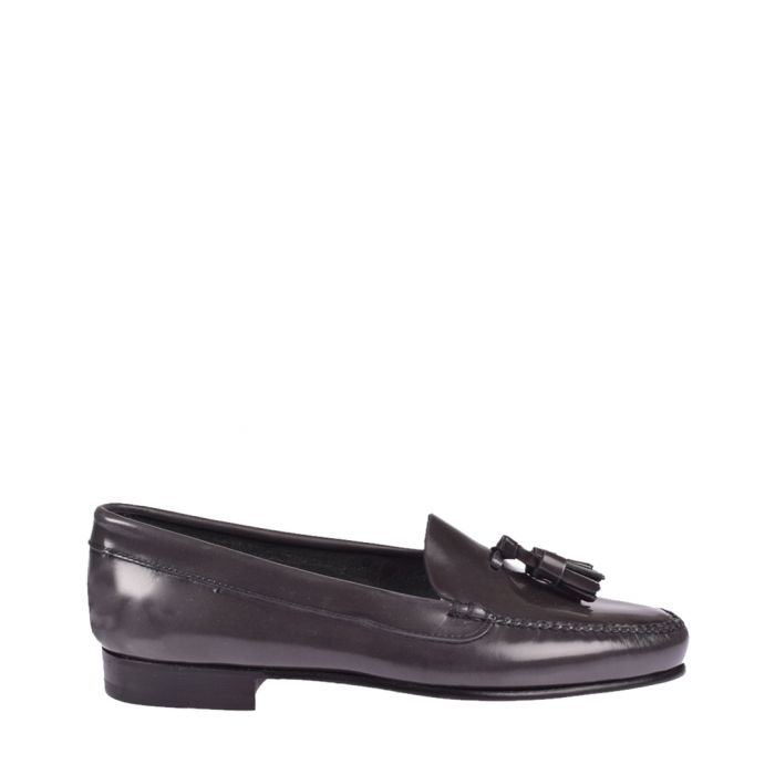 Image for Womens Grey leather tassel loafers