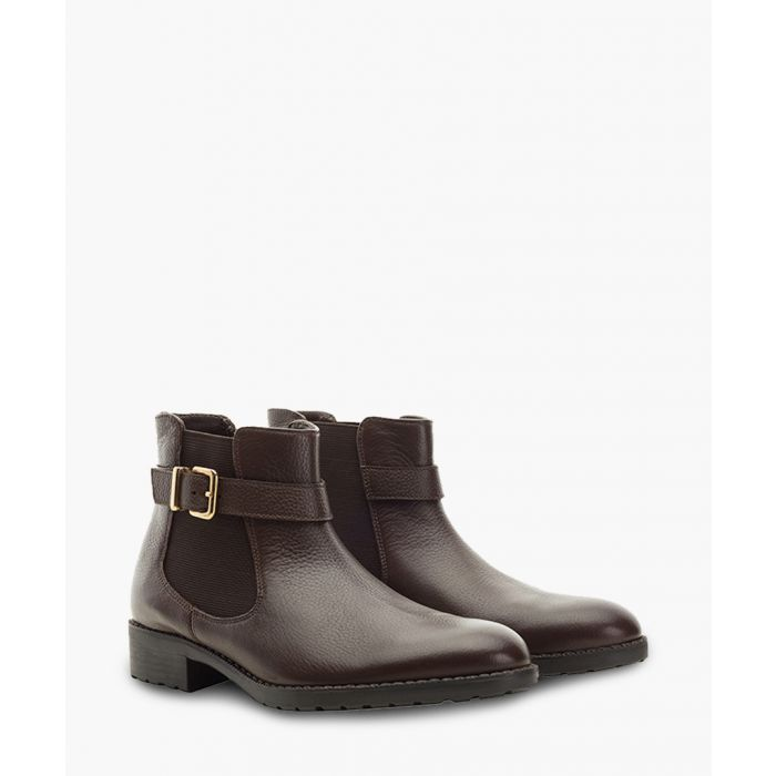 Image for Brown buckle leather chelsea boots