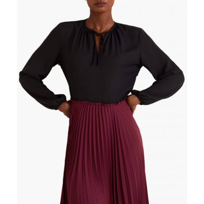 Image for Burgundy pleated skirt dress