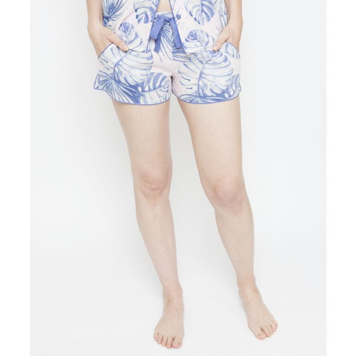 Image for Isla palm leaf printed pyjama shorts