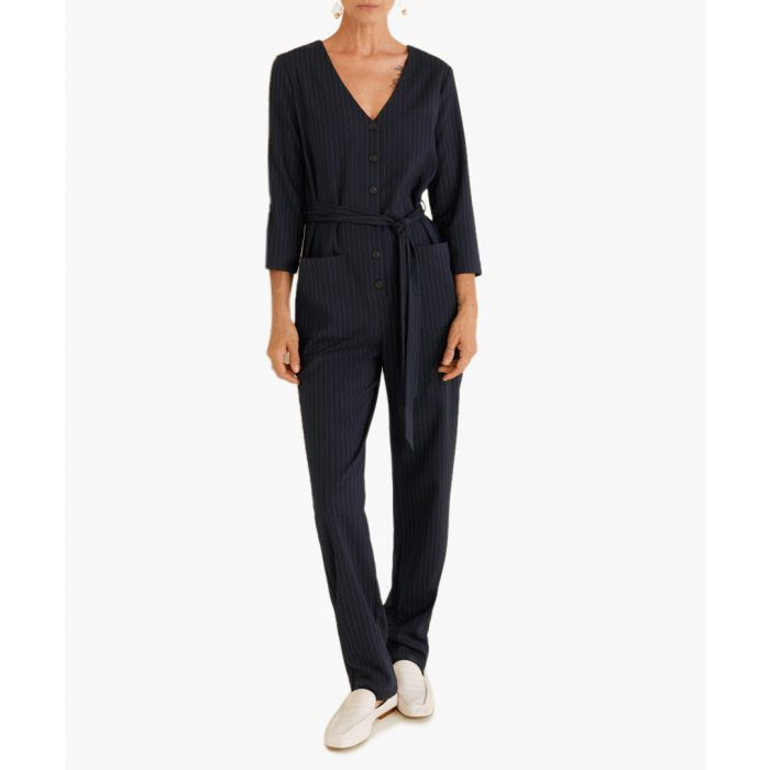Image for Dark navy striped jumpsuit
