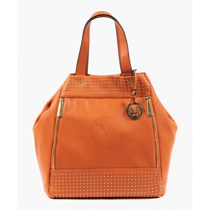 Image for Orange studded slouch bag