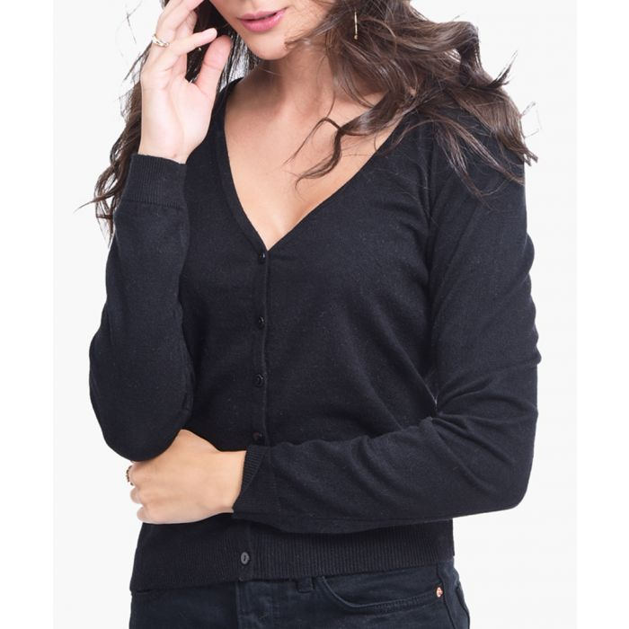 Image for Black cashmere and silk blend cardigan