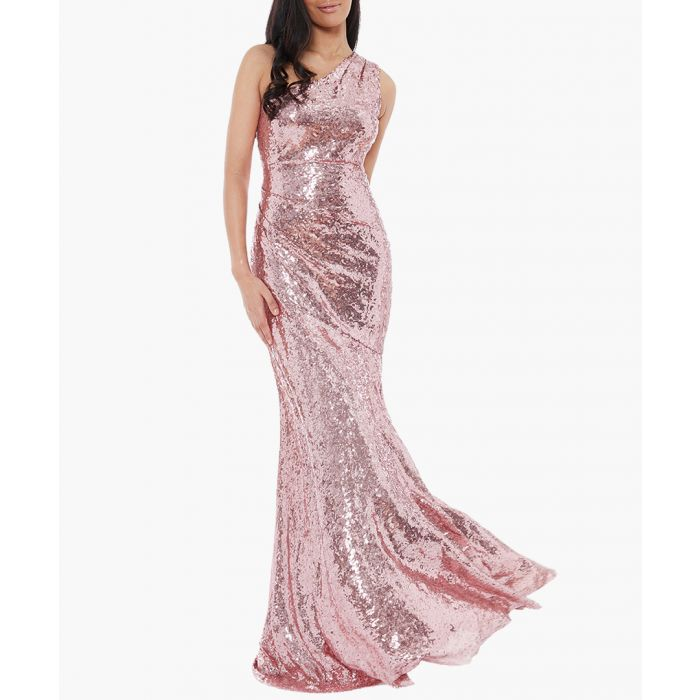 Image for Rose shimmer fitted maxi dress