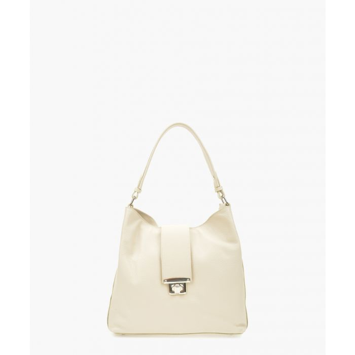Image for Beige leather top handle bag